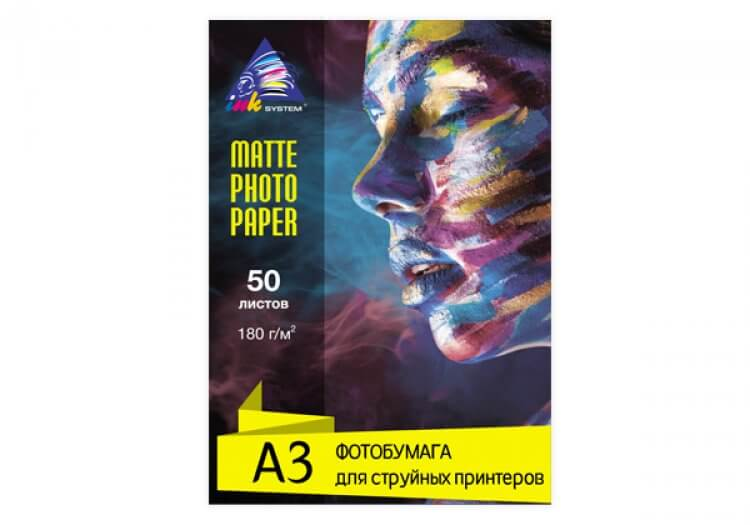 фото Матовая фотобумага INKSYSTEM Matte Photo Paper 180g, A3, 50 листов
